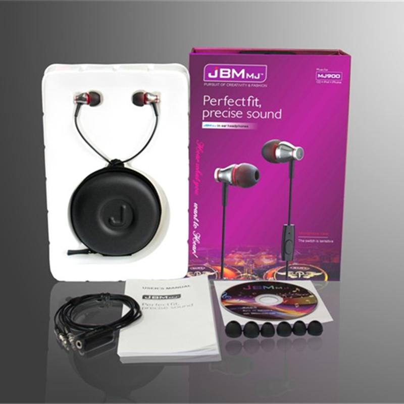 beautiful design Metal in ear headphones JBM MJ900 In-ear Earphone HD HiFi headphone with Mic control talk for iphone samsung(China (Mainland))