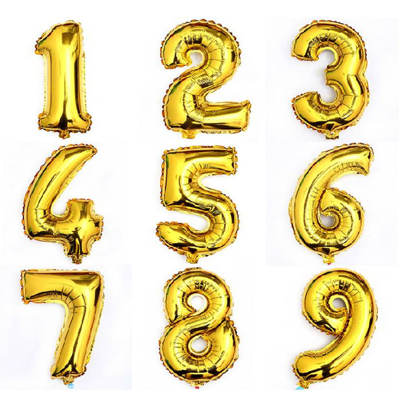 Гаджет  32 Inch Large Size Shining Gold Number Foil Helim Balloons Birthday Wedding Party Christmas Decoration Kids Toy None Игрушки и Хобби