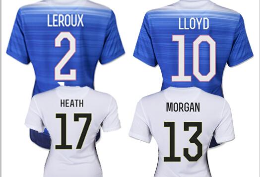 Girl WAMBACH Female Shirt Away Blue Home White 2 Stars Two 2015 USA Women Soccer Jersey MORGAN Lady 15/16 USA Women Jersey 15 16(China (Mainland))