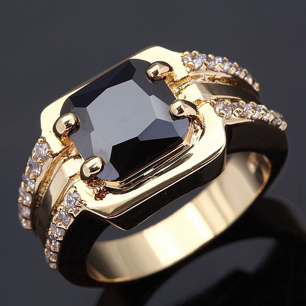 Wholesale male of ring AAA Black Sapphire yellow gold Men Jewelry Free shipping 18 K Gold Filled Fashion Big Rings For Men R005(China (Mainland))