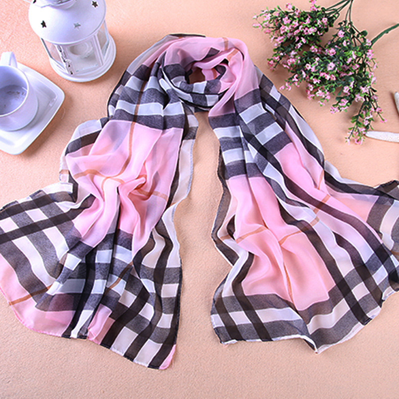 Fashion Grid Designer British Chiffon Plaid Scarf Women Luxury Brand Stole Shawl Female Wrap Scarfs Desigual