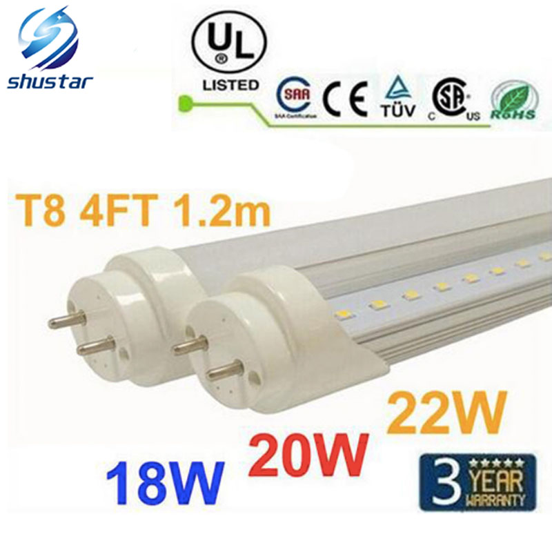 30pcs 4ft 1200mm T8 Led Tube Light High Super Bright 18W 20W 22W Warm Cold White Led Fluorescent Bulbs AC110-240V FCC(China (Mainland))