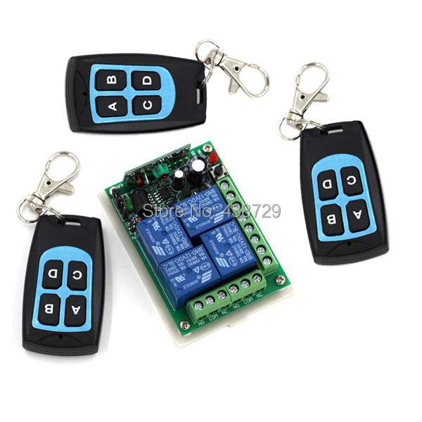 Hot selling DC12V 4CH RF Wireless Remote Control Relay Switch Security System Garage Doors, Rolling Gate Electric Doors(China (Mainland))