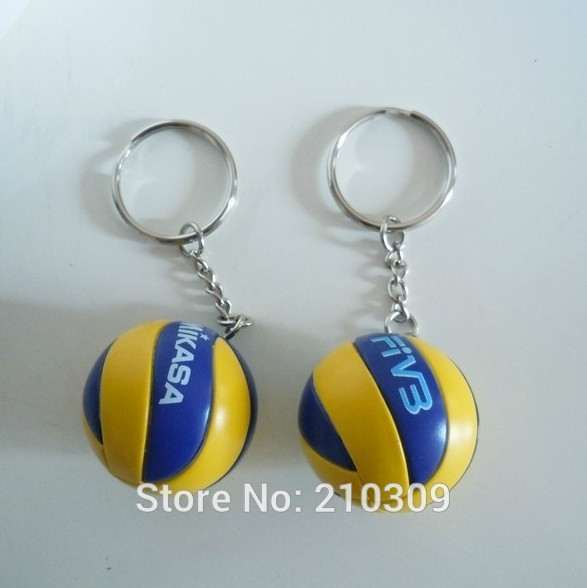 M-I-K-A-S-A !Top beach volleyball PVC 3.7 cm keychain key ring business gifts 4 color(China (Mainland))