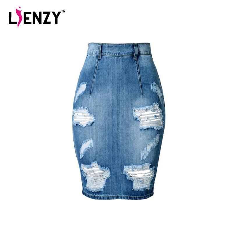 lienzy 2016 summer fashion denim skirt high