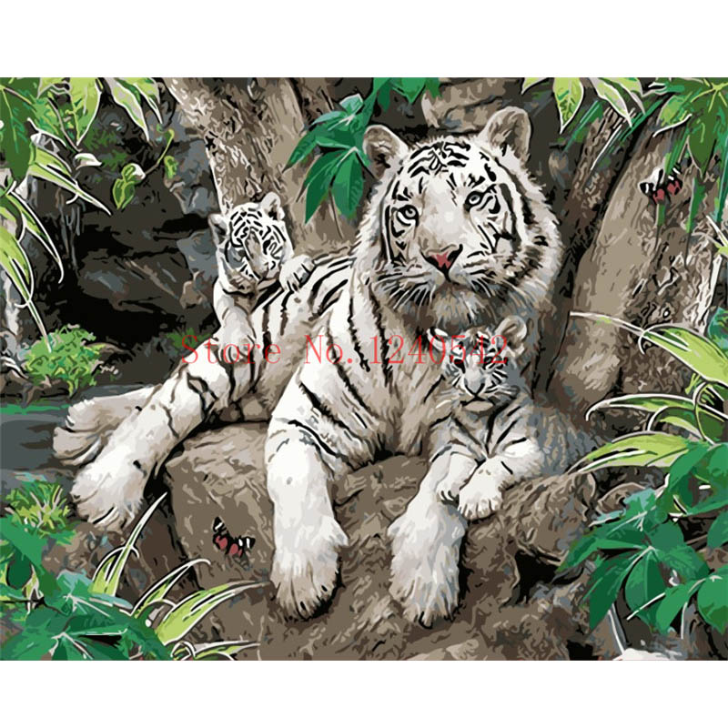 Frameless 40x50 pictures DIY digital oil painting fashion wall art decorative home decor tiger painting by numbers(China (Mainland))