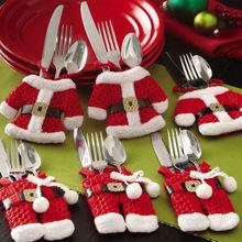 6 pz decorazioni di natale happy santa argenteria titolari tasche cena decor festas(China (Mainland))