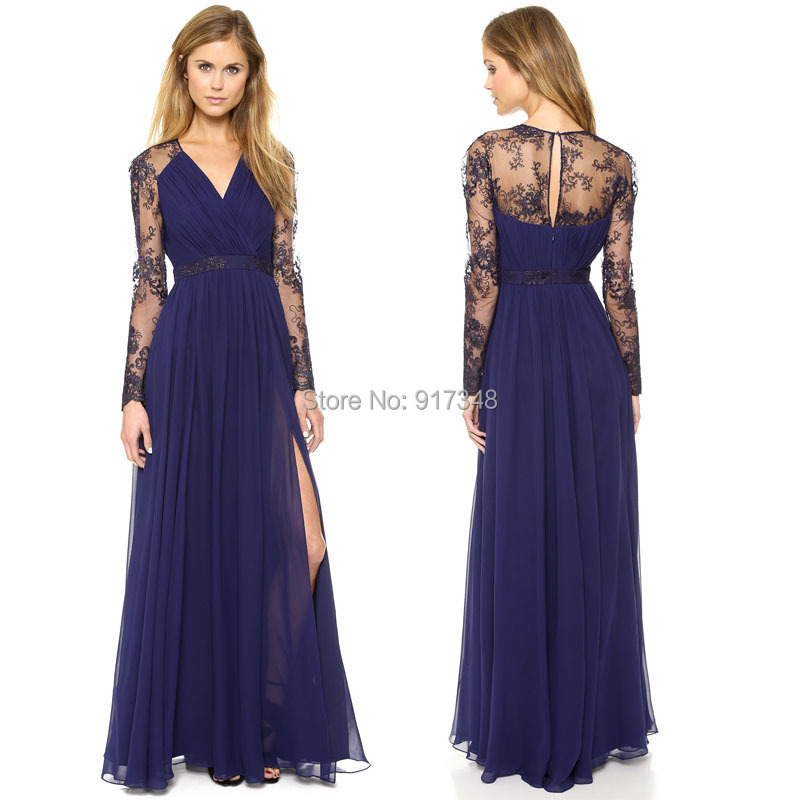 2015 Hot Sale Navy Blue Dress With Long Lace Sleeve Sexy Hight Side Split  Ankle Length Women Club Party Maxi Dresses(China (Mainland))