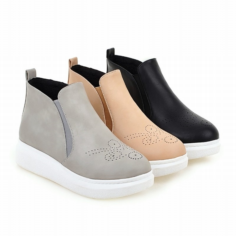 Plus Size 34-43 New Style Cutouts Round toe Ankle Boots Slip on Wedges Thick Sole Shoes Woman Fall Winter Boots Outdoor Shoes