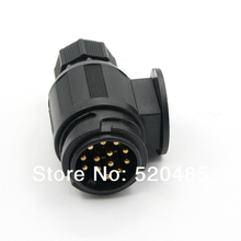 T21214d  Tirol 13-Pin Trailer Plug  Black Plastic 13-Pole Trailer Connector 12V Towbar Towing Socket -Trailer End(China (Mainland))