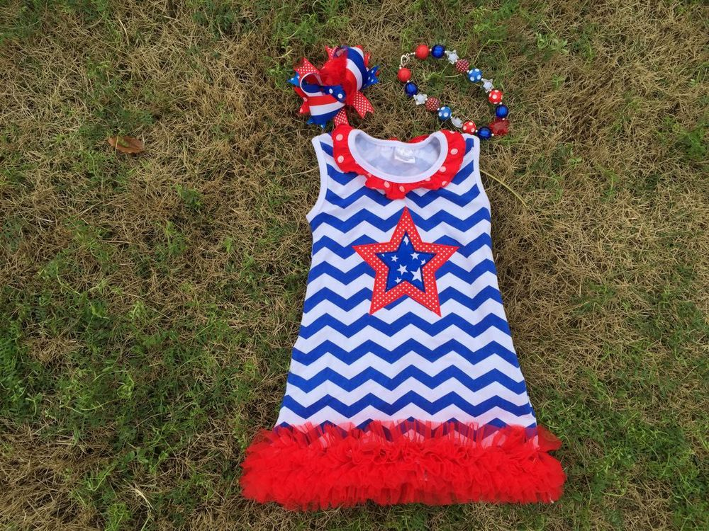 2015 baby girl july 4th chervon Line dress matching bow necklace - Princess and Pea store
