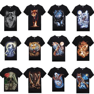 T Shirt Men Hot Selling 2015 Summer New 3d Printed Tiger Wolf Printed Mens T Shirt 100% Cotton Casual Brand T-Shirt(China (Mainland))