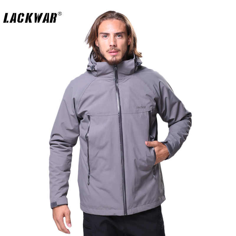 LACKWAR Outdoor Men's Windbreaker Outdoor Waterproof Two-piece Removable Coat Thicken Softshell Jacket Camping Trekking LYF0085(China (Mainland))