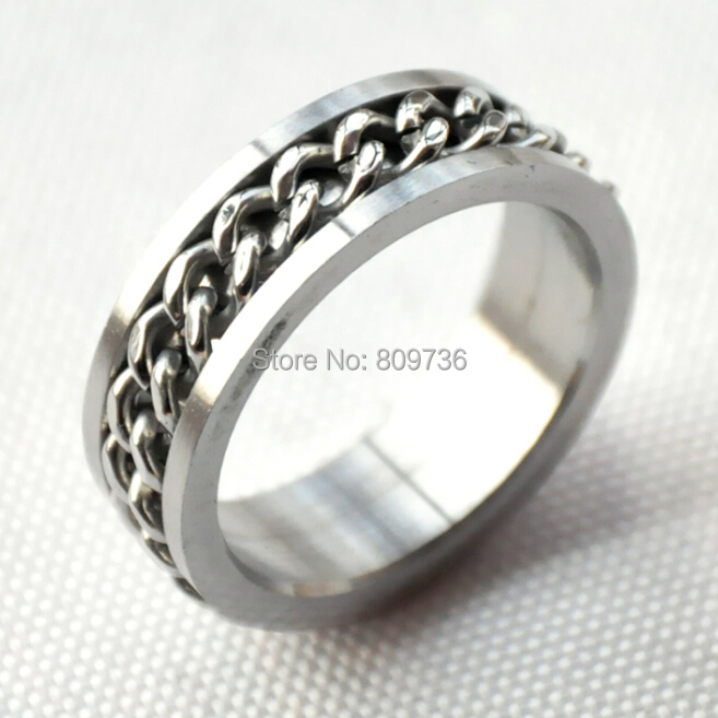 Hot Sale 6pcs/lot Silver Chain Rotation Men Ring Stainless Steel Male Finger Ring Fashion Punk Jewelry Drop Free(China (Mainland))