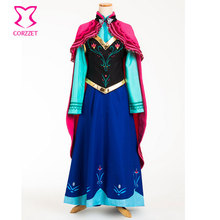 Six-pieces Ice Snow Fantasy Dress For Adult Princess Anna Costume Cosplay Sexy Gothic Lolita Halloween Costumes For Women