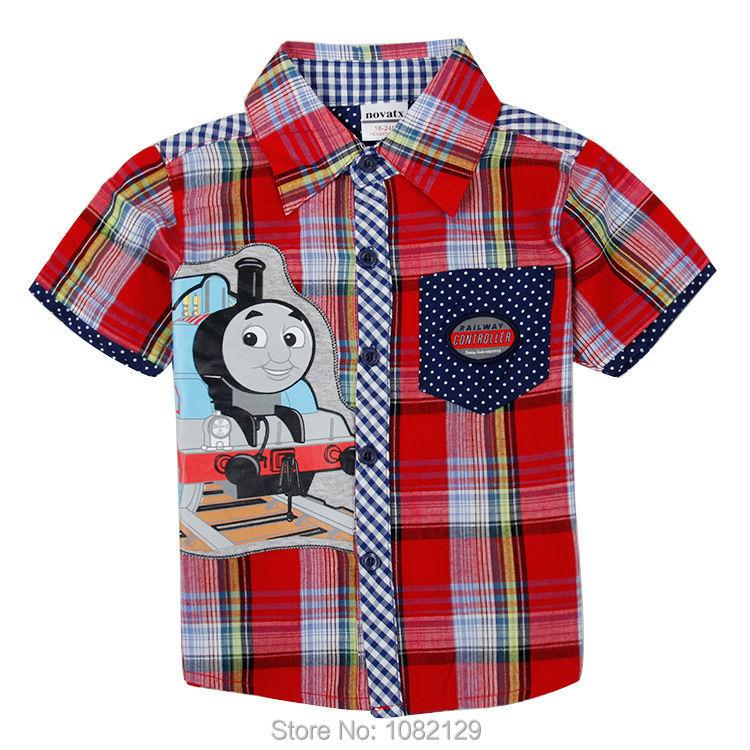 boys shirts 2015 nova brand clothes boy's cotton checked short sleeve shirts children summer clothing kids cotton wear(China (Mainland))
