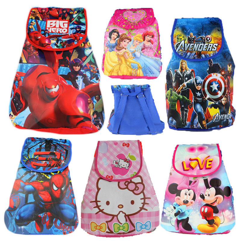 Children Cartoon School Bags Hello Kitty Big Hero 6 Minion Dora Sofia Non-woven Drawstring Bags Backpack Children's School bag(China (Mainland))