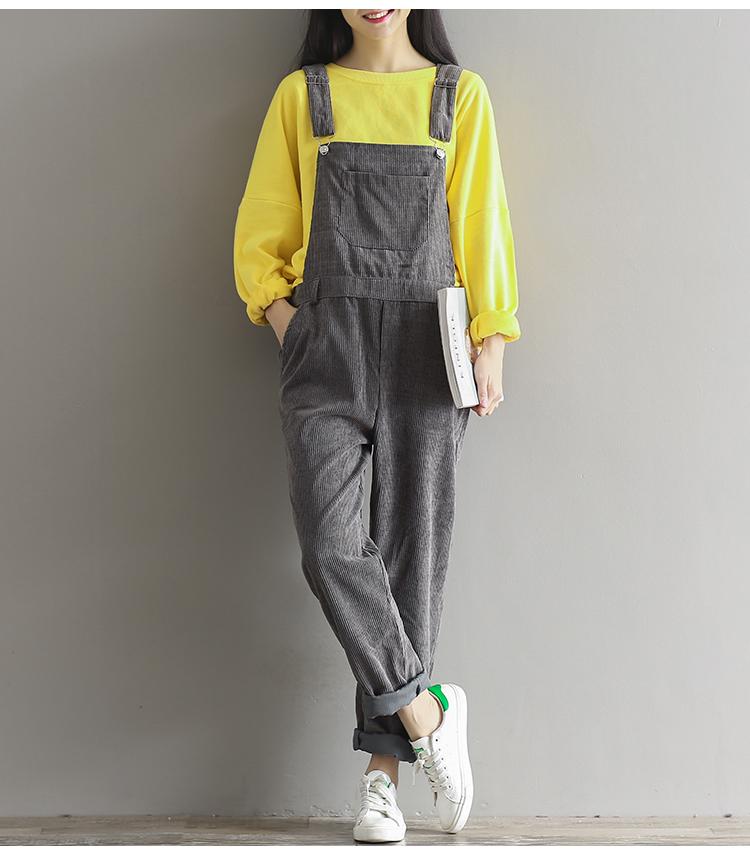 d083d1aaaa4 Plus Size Womens Suspenders Corduroy Jumpsuit 2017 Spring Autumn ...
