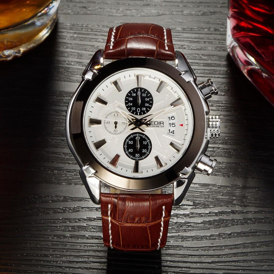 Мужские Часы Топ Luxury Brand JEDIR Мода Авто Дата Часы Geniune Кожаный Ремешок Мужской Часы, Мужские Часы Хронограф
