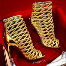 High quality red bottom sandals gold/white/black cut-outs booties 120mm high heel women dress sandals ankle boots plus size(China (Mainland))