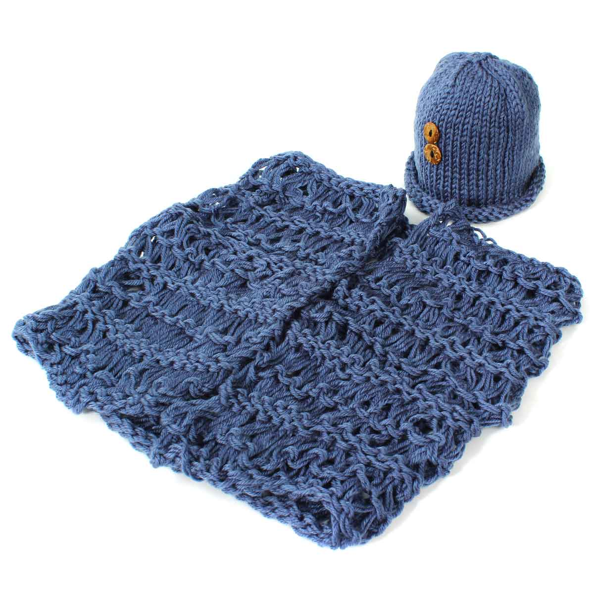 Crochet Newborn Baby Costume Photography Props Blue&amp;Button Beanies And Blanket Handmade Knit 0-6month Infant Photo Shoot Clothes<br><br>Aliexpress