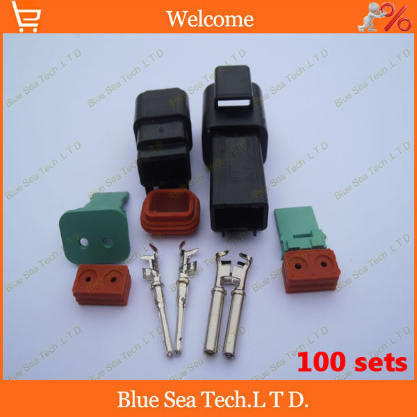 Free Shipping 100sets 2Pin DT04-2p&amp;DT06-2S Car connector,Car waterproof Electrical connector Male&amp;Female kit for car boat ect.<br><br>Aliexpress