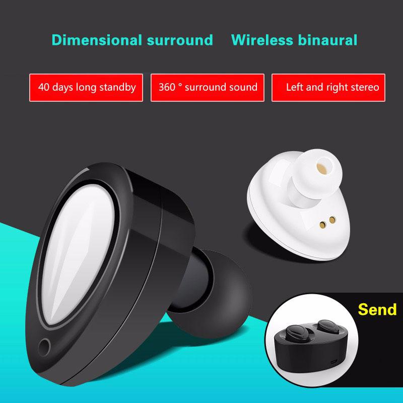 2017 Mini Bluetooth True Wireless earphone headphone Stereo Headset Handsfree Earbud with MIC Charging Box for Iphone7 Samsung