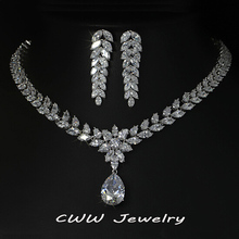 White Gold Plated Luxury Bridal Jewelry Big Teardrop CZ Diamond Necklace And Earrings Sets For Wedding Decoration T161(China (Mainland))