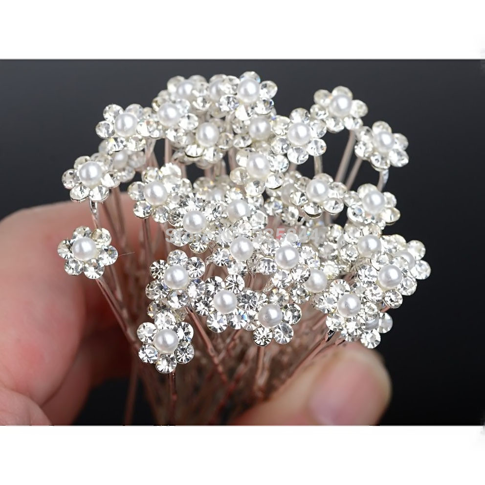 A28 20pcs/Lot Silver Crystal Hair Pins Rhinestone Clips Baby White Pearl Hair Jewelry Accessories Bridal wedding jewelry H6567 P(China (Mainland))
