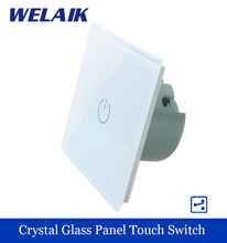 WELAIK Crystal Glass Panel wall switch EU Standard 110~250V Touch Switch Screen Light Switch 1gang2way for LED Lamp A1912W/B(China (Mainland))