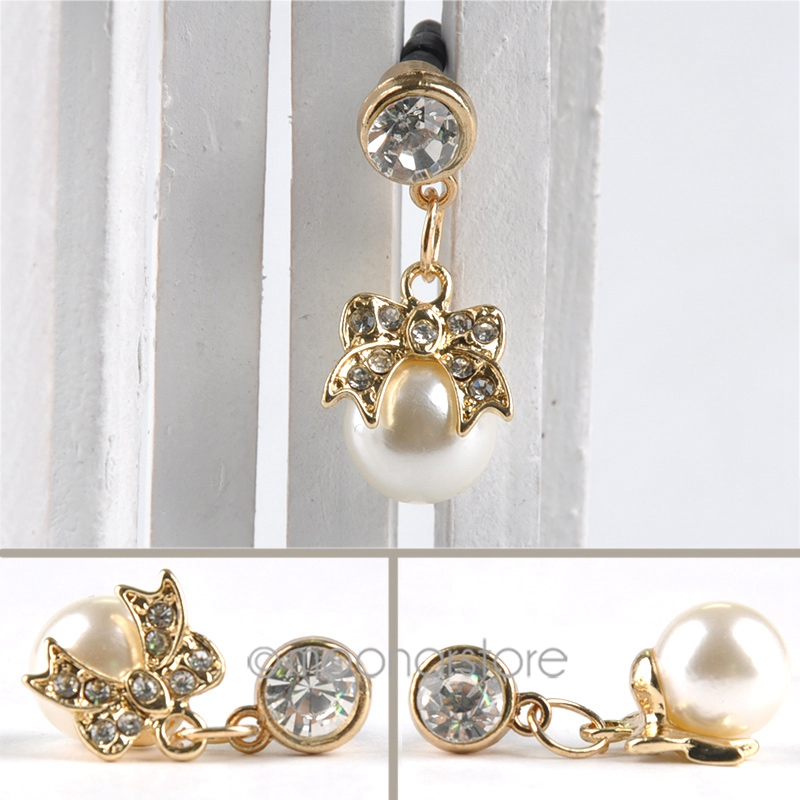 Bowknot accesories 3.5mm Rhinestone Faux Pearl Dustproof Cell Phone Headset Dust Plug for Phone CA1121(China (Mainland))