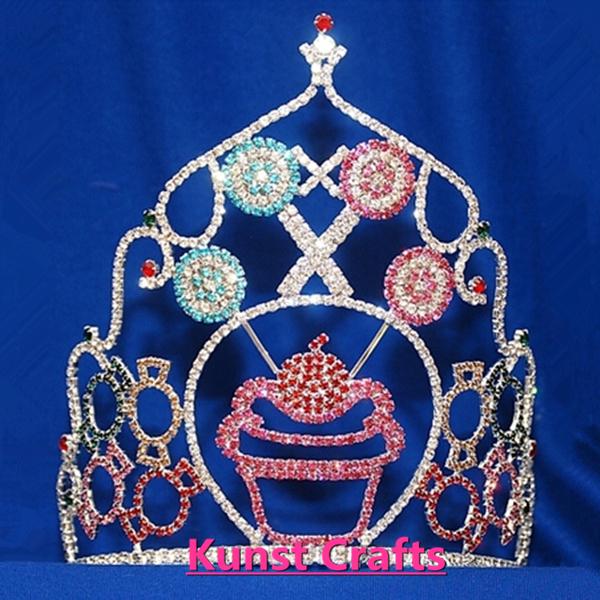 Rhinestones Cupcake Candy Sugar Crowns Sweet Child Kid Crown Tiara(China (Mainland))