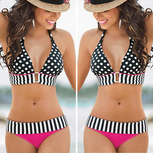 Swimwear Bikini Push Up Bikini 2016 Summer Women Sexy Swimwear Beach Boho Dot Bandage Bikini Bra Set Swimsuit Bathing suit