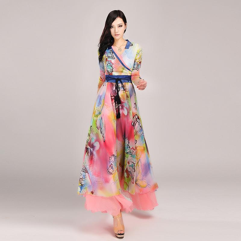 High Quality Womens Cute Elegant Fancy Print Lacing Long Sleeve Expansion Chiffon Maxi Long Dress Full DressÎäåæäà è àêñåññóàðû<br><br>