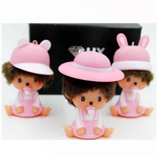 2016 new Cute present monchichi Dolls keychain Woman Pendant phone support mobile scaffold wholesale porte clef Key chains gift(China (Mainland))
