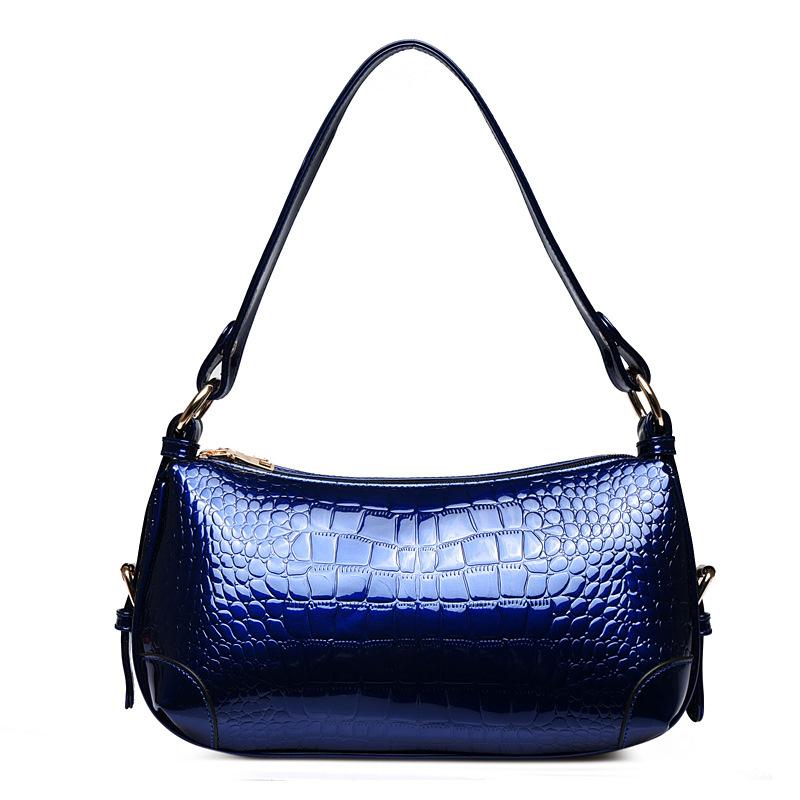 Top quality women's soft pu handbags fashion bright alligator sexy ladies handbags modern versatile casual handbags