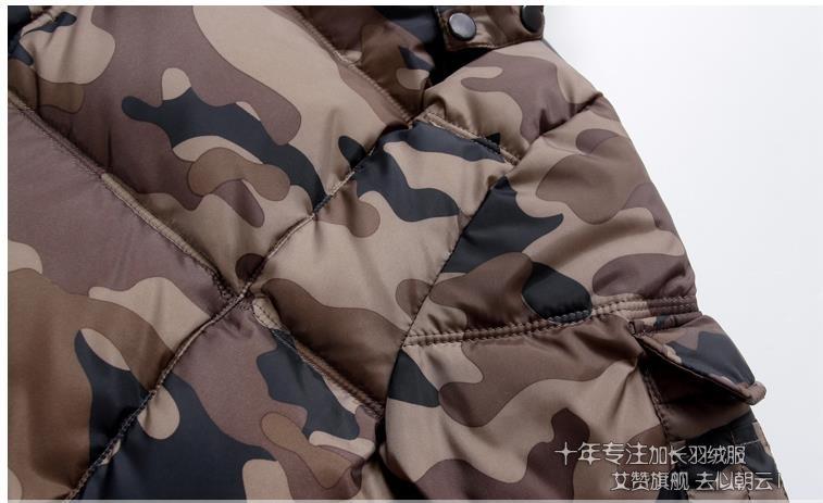 Скидки на Зима мужской Камуфляж средней длины пуховик удлинить утолщение с капюшоном пальто более-колено толстый зимняя одежда плюс