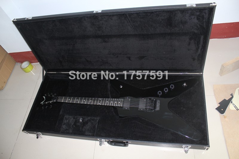 High Quality Flying V Guitar Ebony fingerboard EMG Pickups DEAN Black Electric Guitar with Floyd Rose Tremolo with square CASE(China (Mainland))