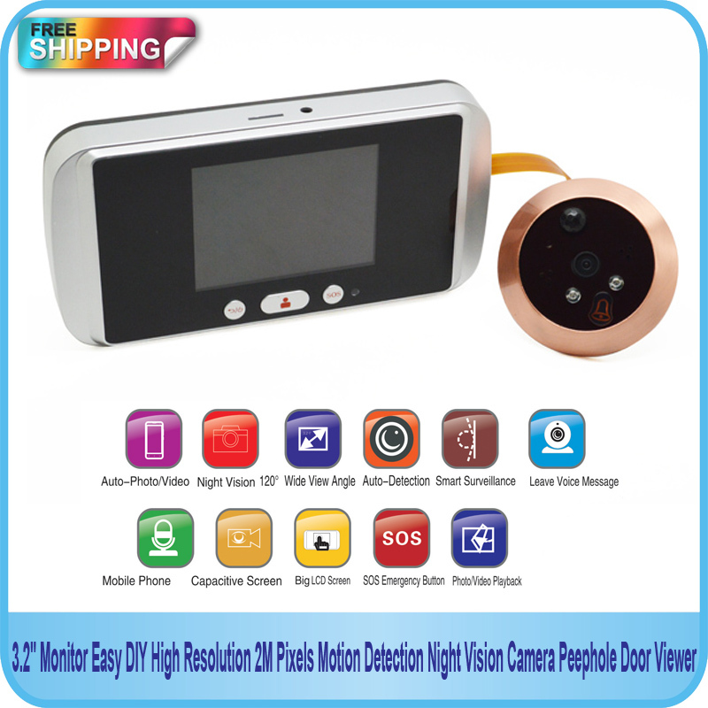 "Гаджет  Free Shipping!! SOS Emergency 3.2"" Monitor High Resolution 2M Pixels Motion Detect Night Vision Camera DIY Peephole Door Viewer  None Аппаратные средства"