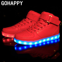 New 2016 Big Size 35-46 USB LED Light Shoes Men Women 7 Colors Glowing Fashion Led Shoes Flats High-top Adults Lumineuse Shoes