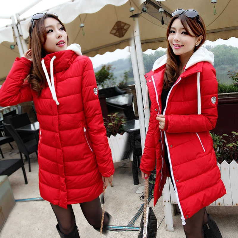New Fashion Women Casual Thicken Warm Hooded Winter Coat Long Sleeve Solid Slim Long Coat Padded Down Jacket Plus Size 5 Colors