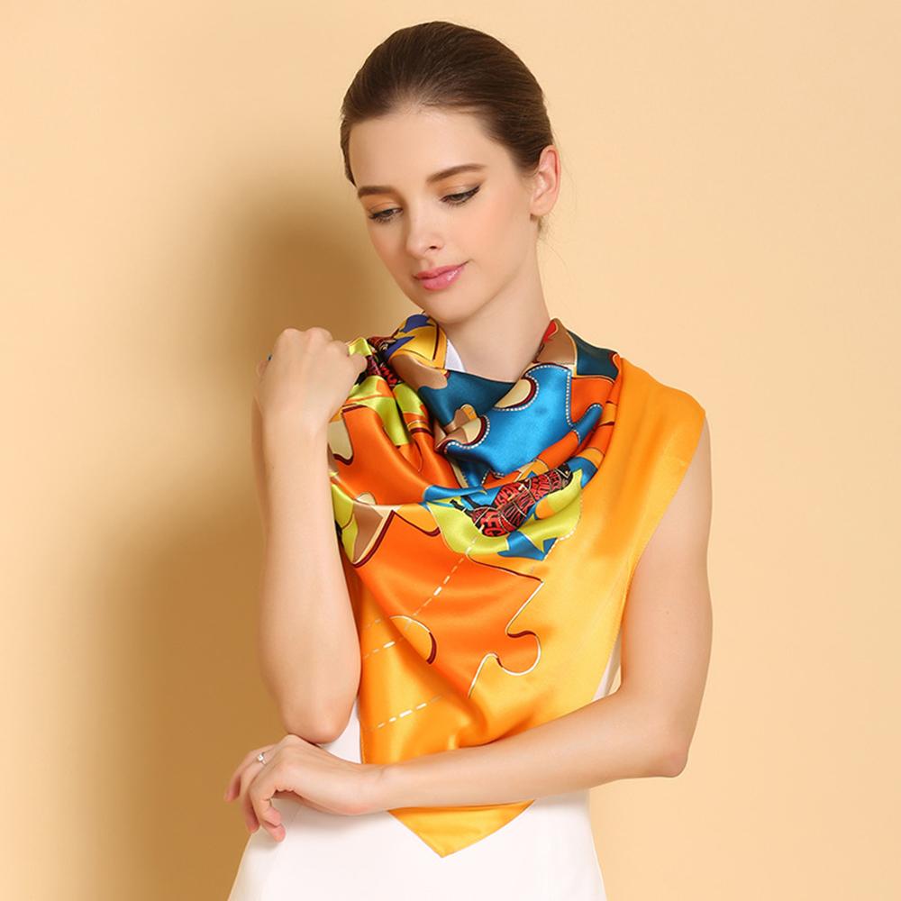 100% Natural Silk Square Scarves Fashion Printed Pure Silk Scarf Shawl Top Grade Sunscreen Shawls Large Size 110cm x 110cm F516(China (Mainland))