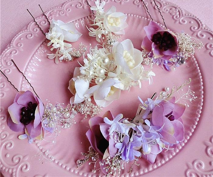 2016 purple white flower hairpins bridal accessories hair pins wedding jewelry 203(China (Mainland))