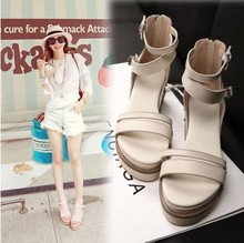 anufacturers selling 2014 new energy-saving leather shoes with thick soles of sandals in summer slope of Rome shoe rivet(China (Mainland))