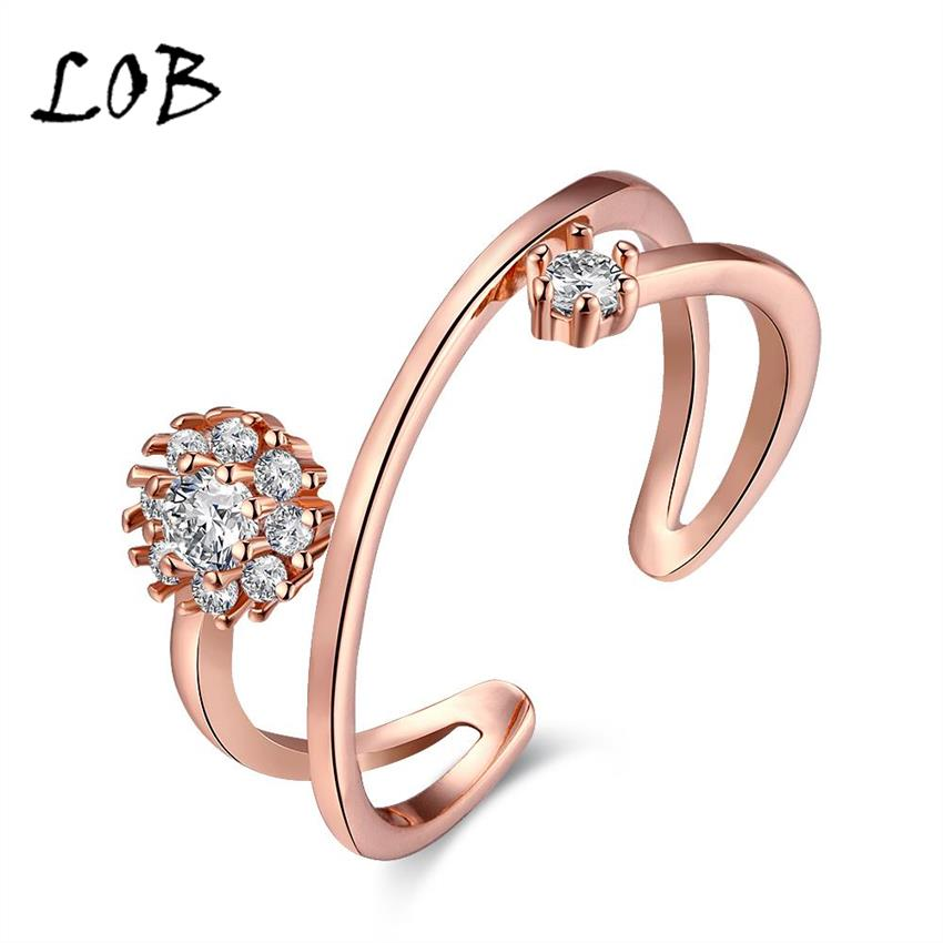 2016 Korean Style Rose Gold/Platinum Plated Open Zircon Rings For Women Gold Finger Ring Woman US Size 5-7 R002(China (Mainland))