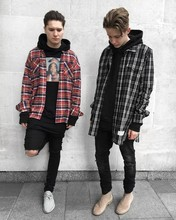 Best Hi Street FOG Fear of God long Sleeve red Tartan plaid shirt Kanye west streetwear casual plaid cotton shirts