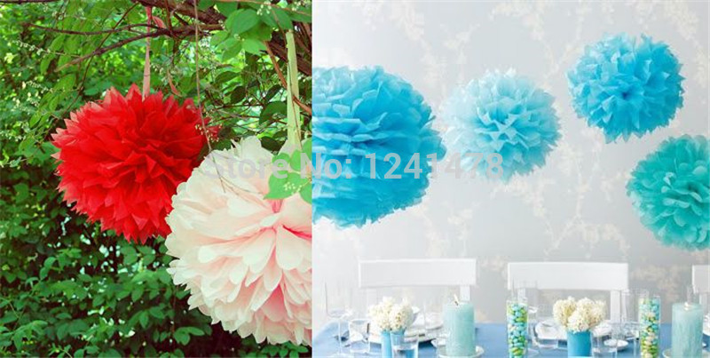 """24 Colors as chart !! Paper pom-poms for a holiday 6""""(15cm) 25pcs/lot DIY tissue paper flowers balls garlands decorations(China (Mainland))"""