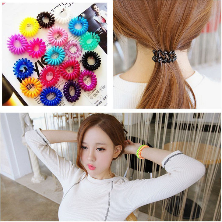 1pc Top Selling Novelty Cute Candy Colors Telephone Line Gum For Hair Jewelry Scrunchy Capitium Headbands A10R19C(China (Mainland))