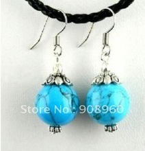 Wholesale  tibet silver Round blue Jade earring 20pc/lot fashion jewelry #022(China (Mainland))
