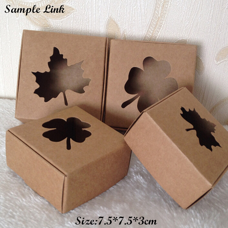 SAMPLE Kraft Paper Box for Gift Candy Handmade Products Packing 7.5*7.5*3cm 2pcs/lot Free Shipping SPP046(China (Mainland))